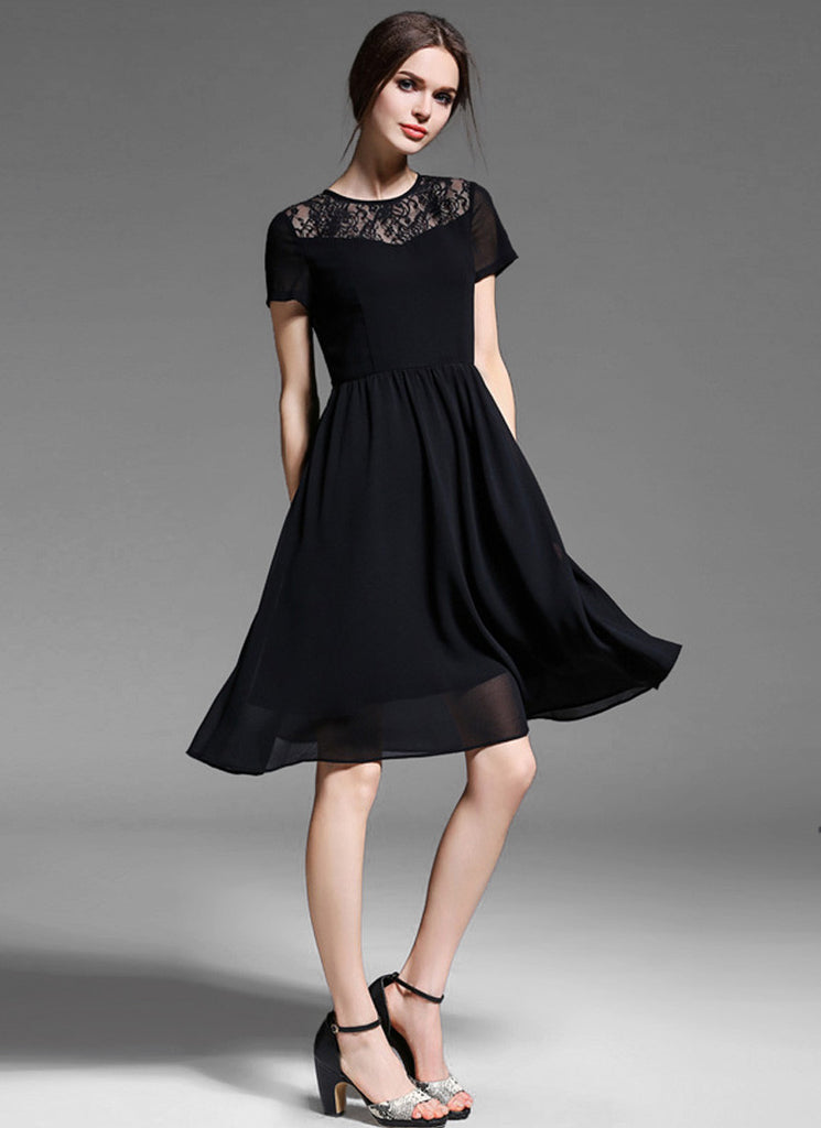 Black Lace Chiffon Fit and Flare Mini Dress with Keyhole Nape