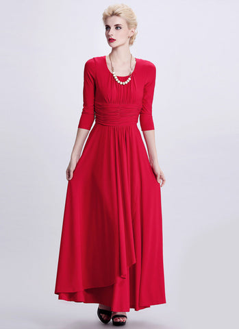 Half Sleeved Red Maxi Dress with Ruched Wide Waist Yoke RM402