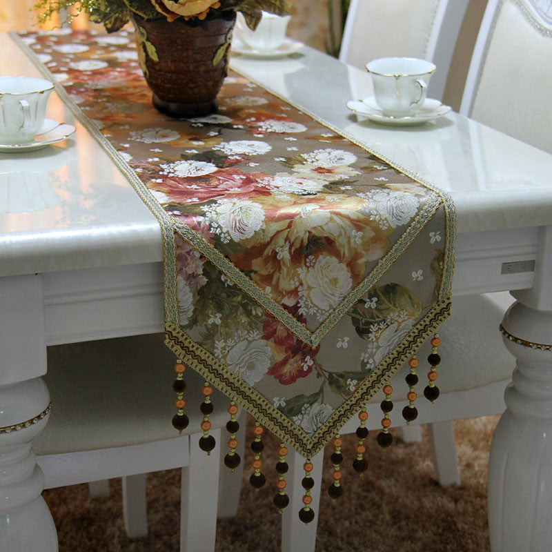 Retro Style Table Runner with Crochet Edge and Fringes TR9