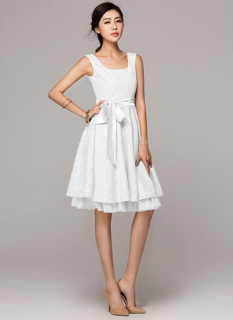 Sleeveless White Lace Fit and Flare Mini Dress with Layered Skirt