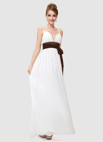 White Maxi Dress with Spaghetti Straps and Brown Sash RM518
