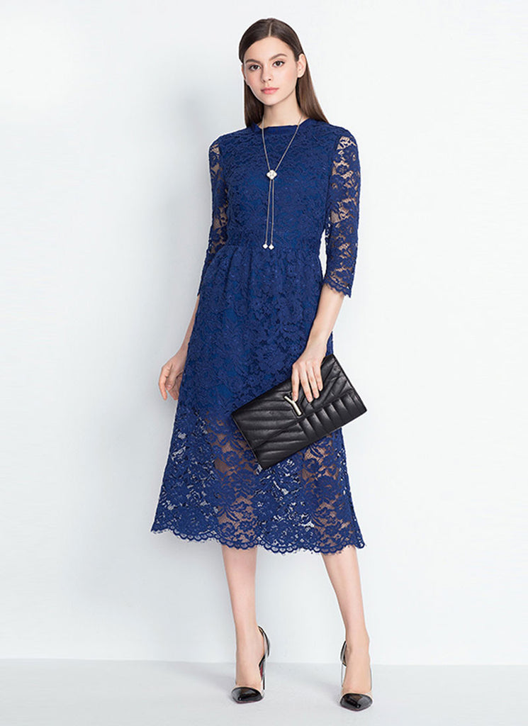 Elbow Sleeve Blue Lace Midi Dress with Scalloped Hem and Eyelash Details