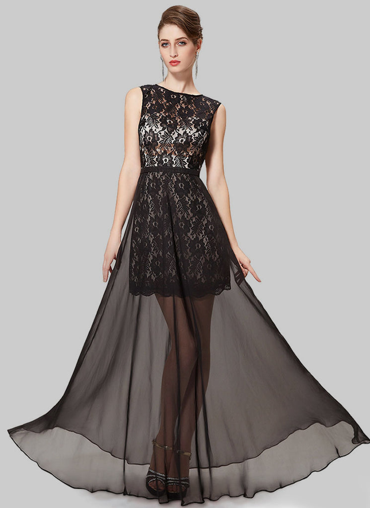 Open Black Black Lace Chiffon Evening Dress