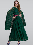 Dark Green Lace Maxi Dress with Cloak