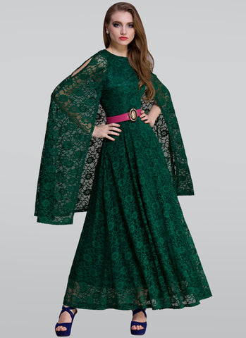 Dark Green Lace Maxi Dress with Cloak RM312