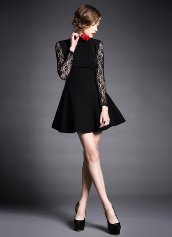 Black Velvet Mini Dress with Long Lace Sleeves and Stand Collar RD379