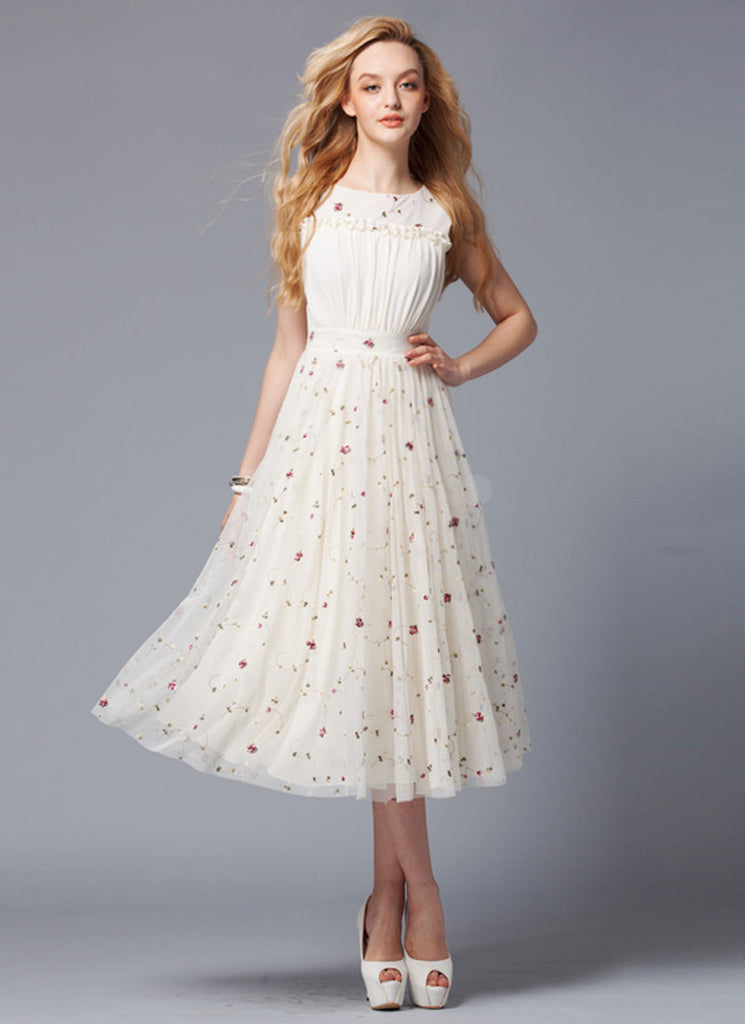 Ivory Lace Tea Dress with Ruffles and Ruched Front Bodice