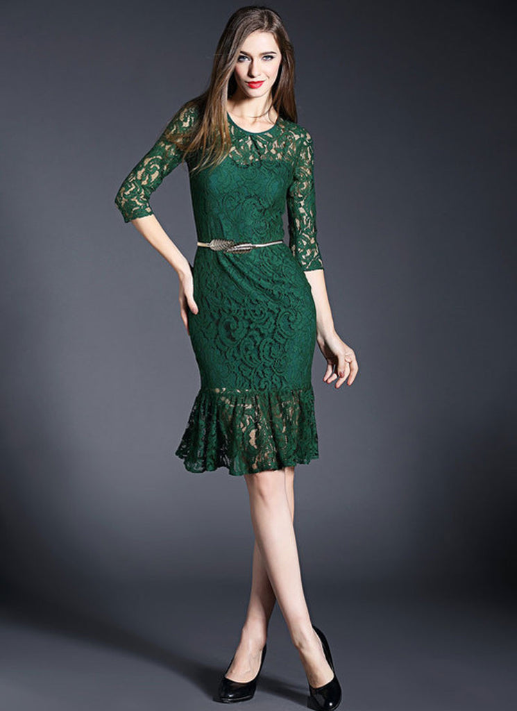 Dark Green Lace Mermaid Mini Dress with Flounce Hem