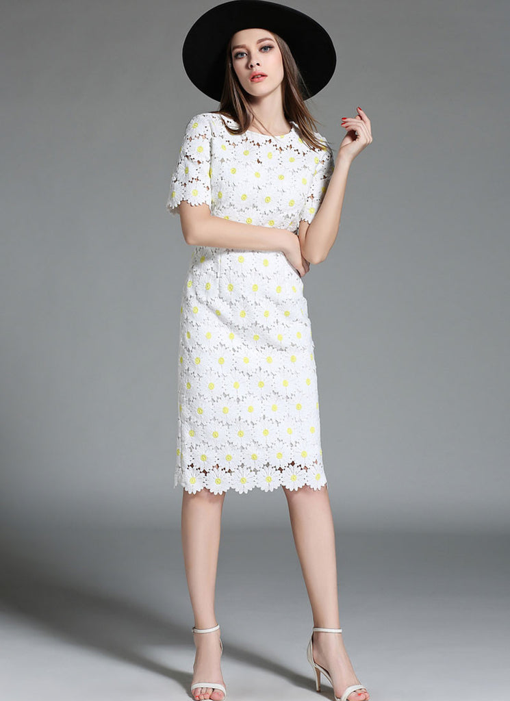White Sunflower Lace Sheath Mini Dress with Short Sleeves and Yellow Bud Embellishment
