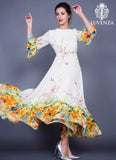 Yellow Chiffon Floral Maxi Length Party Dress with Boat Neckline and Trumpet Sleeve