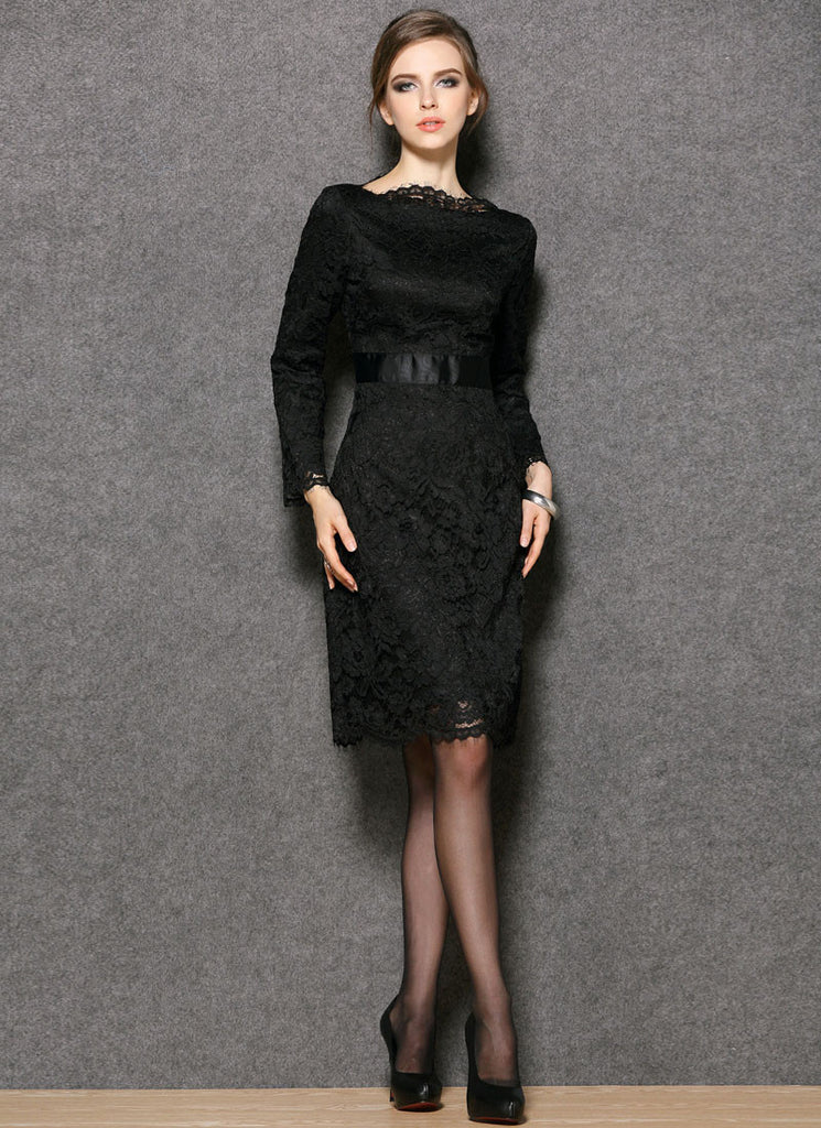 Black Lace Sheath Mini Dress with Satin Waist Yoke and Eyelash Details