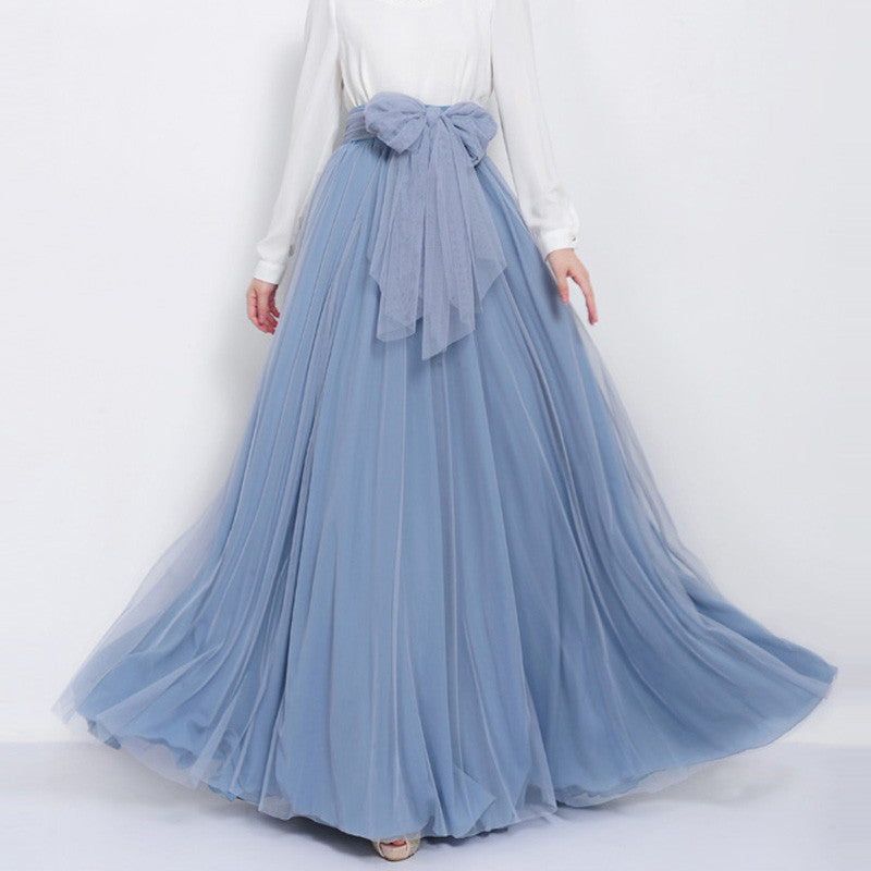 Sky Blue Tulle Maxi Skirt with Bow Sash and Extra Wide Hem