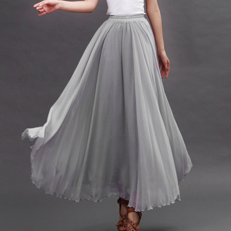 8538ba43601 Light Gray Chiffon Maxi Skirt with Extra Wide Hem - Long Grey ...