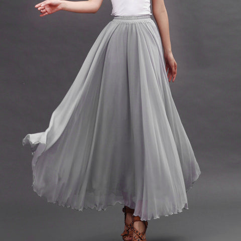 Light Gray Chiffon Maxi Skirt with Extra Wide Hem - Long Grey Chiffon Skirt - SK5a
