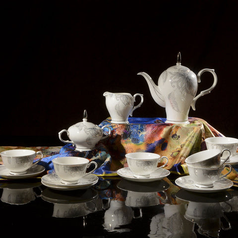 Fine Bone China Tea Set (15 Pieces) with Handpainted Floral Motif