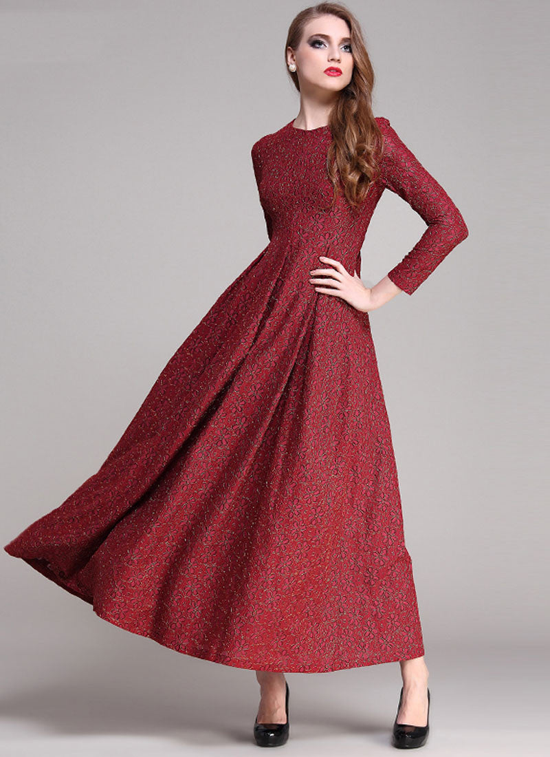 a8cfc96c0cd Gold Gilded Maroon Lace Maxi Dress with Long Sleeves RM191 – RobePlus
