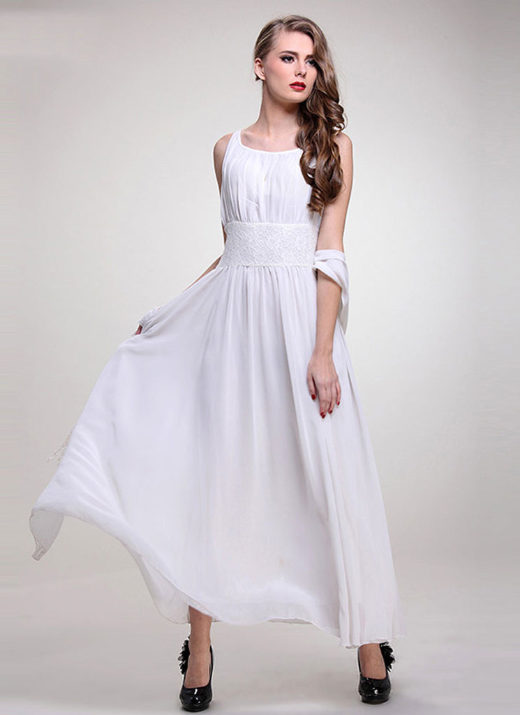 White Chiffon Maxi Dress with Lace Waist Yoke