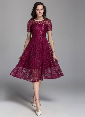 Short Sleeved Dark Red Lace Midi Dress MD8