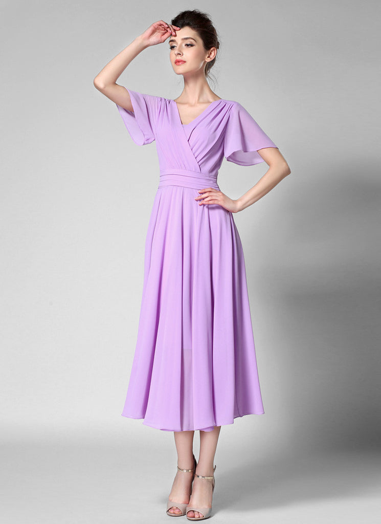 V Neck V Back Thistle Chiffon Midi Dress with Modified Flutter Sleeves