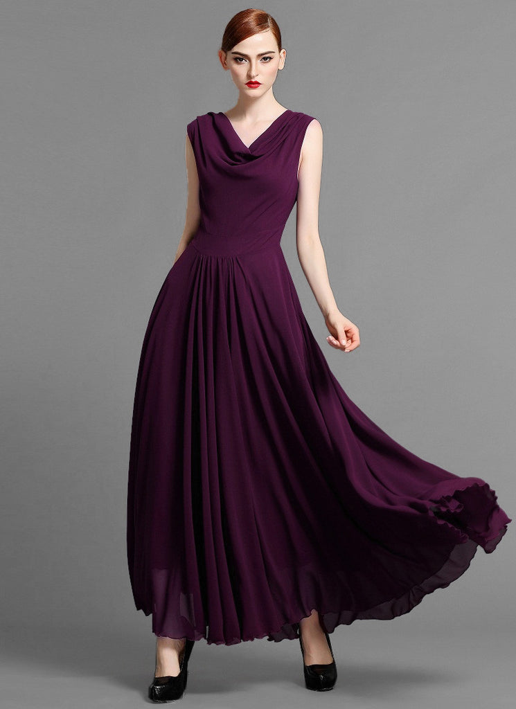 Dark Purple Maxi Dress with Draped V Neck