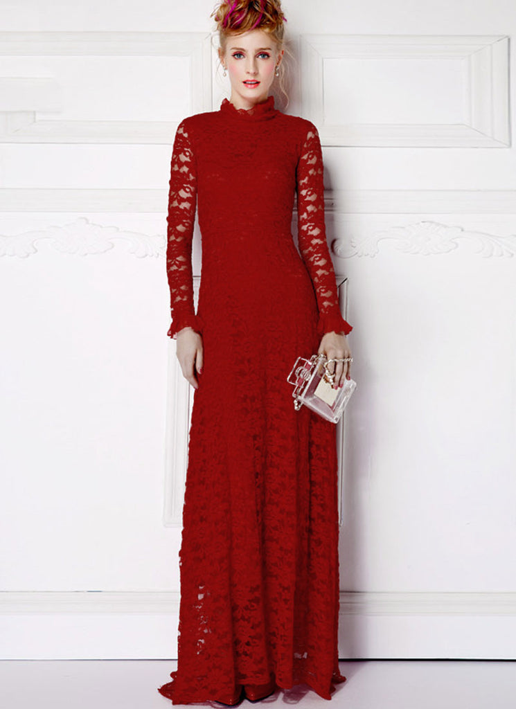 Long Sleeved Maroon Lace Maxi Dress with Ruffled Neck and Cuff