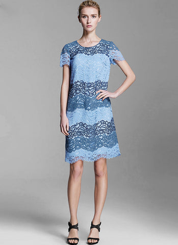 Blue Aline Lace Dress with Multi Color Band Structure and Scalloped Hem MN42