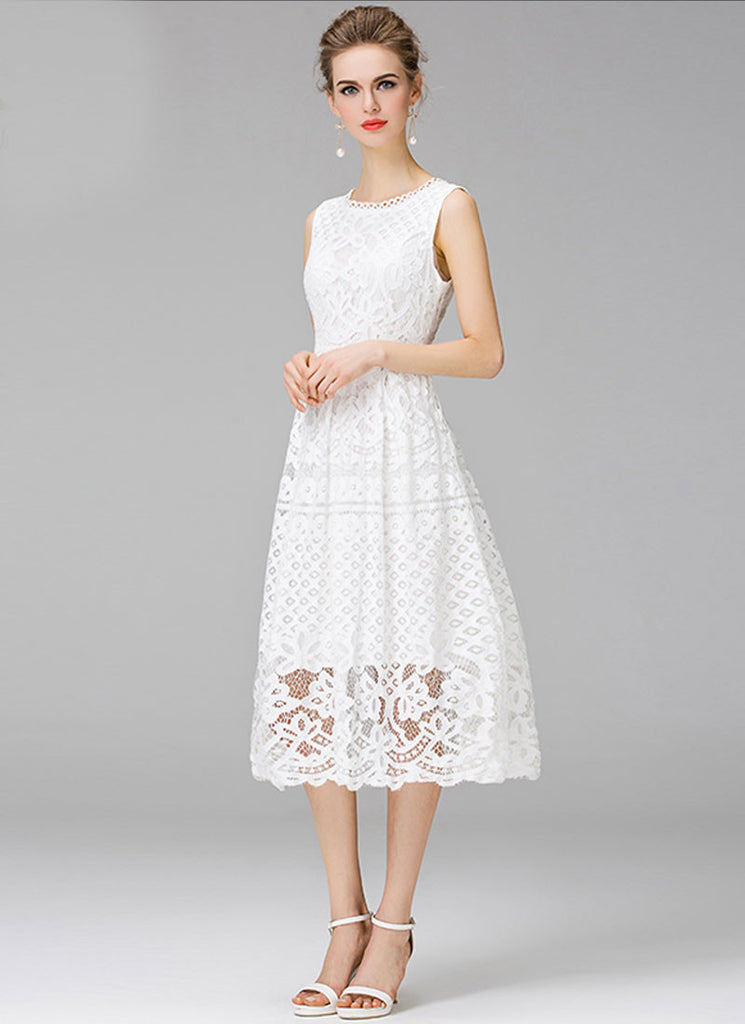 White Lace Aline Midi Dress with Scalloped Hem and Neck