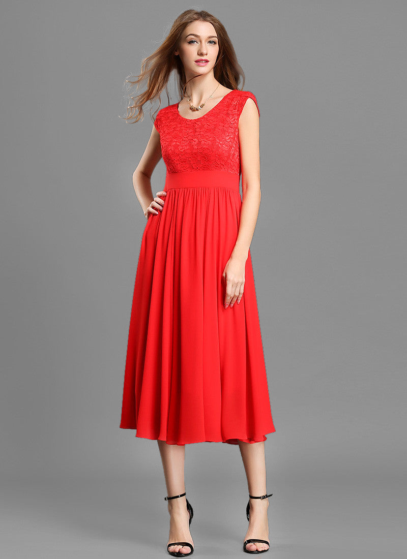 6bebf7cacc5f Red Lace Chiffon Midi Dress with Modified V Neck and Layered Cap Sleeves  MD37