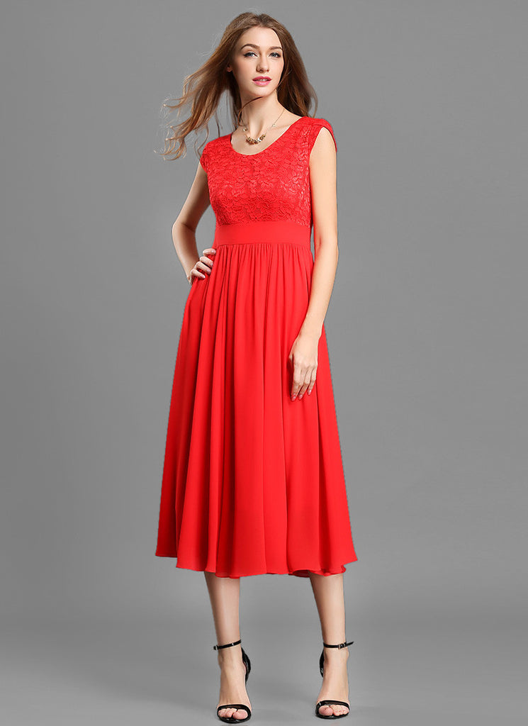Red Lace Chiffon Midi Dress with Modified V Neck and Layered Cap Sleeves