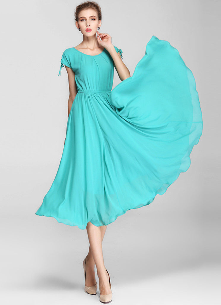 Turquoise Chiffon Midi Dress with Elastic Waist and Cap Sleeves