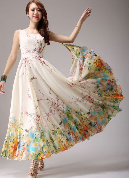 Light Yellow Maxi Dress With Colorful Floral Printed Hem