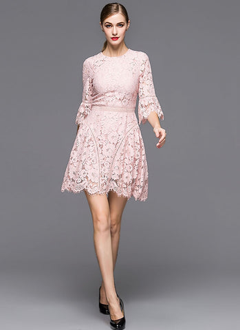 Dusty Rose Pink Lace Aline Mini Dress with Trumpet Sleeves MN45