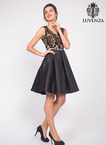 Black Tulle Mini Cocktail Dress with Red and White Floral Embroidery