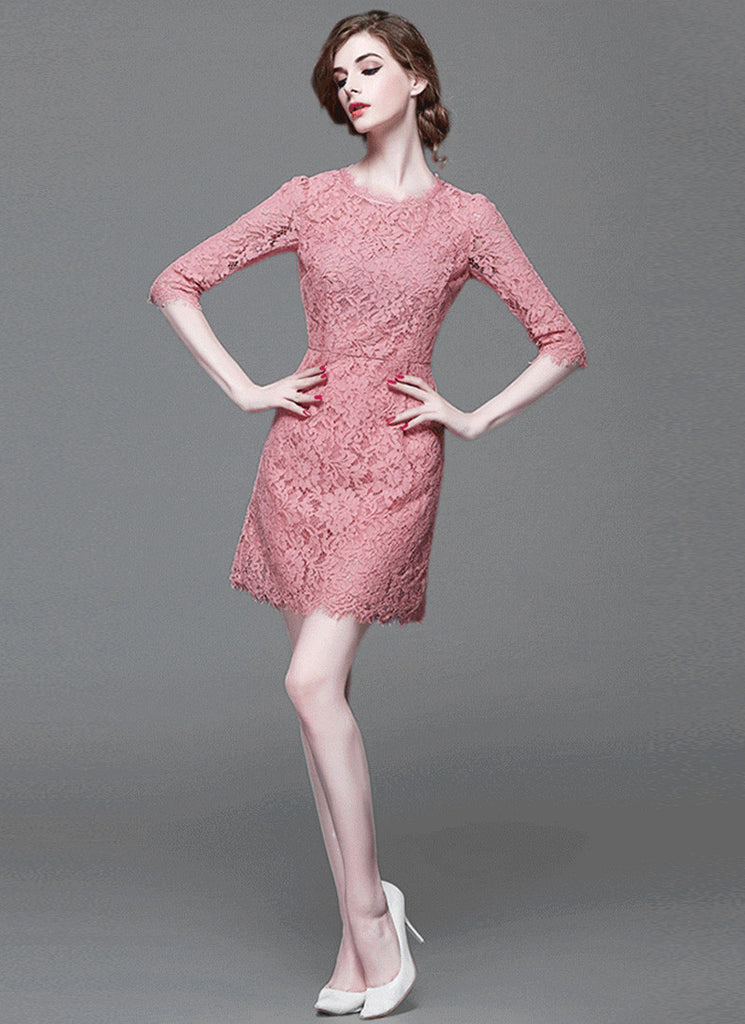 Indian Pink Lace Aline Mini Dress with Elbow Sleeves and Scallop Details