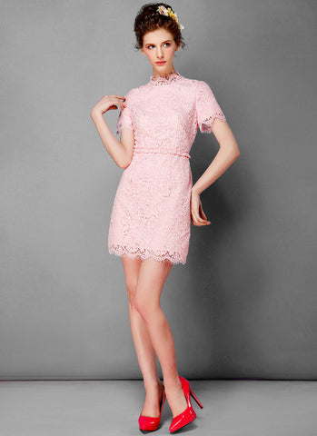 Baby Pink Lace Mini Dress with Scalloped Stand Collar and Ruffled Peplum RD324
