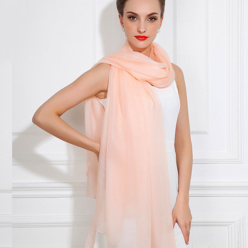 Light Nude Pink Silk Chiffon Scarf - Dusty Rose Pink Silk Scarf - Large Silk Shaw - SS40