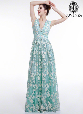 16dab88d5e6 Aquamarine White Floral Embroidery Maxi Length Wedding Dress with V Neck  Sheer Back