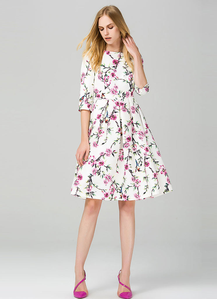 Elbow Sleeved Floral Aline Mini Dress