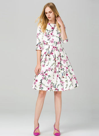 Elbow Sleeved Floral Aline Mini Dress MN27