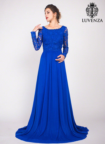Royal Blue Floor Length Lace Evening Gown with Rhinestone Embellishment