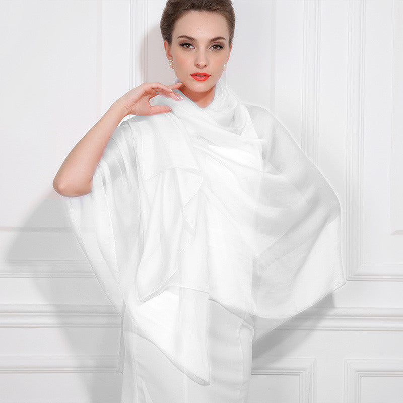 White Silk Chiffon Scarf - Pure White Silk Scarf - Large Silk Shaw - SS41