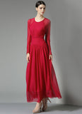Long Sleeve Red Maxi Dress with Angled Hip Design