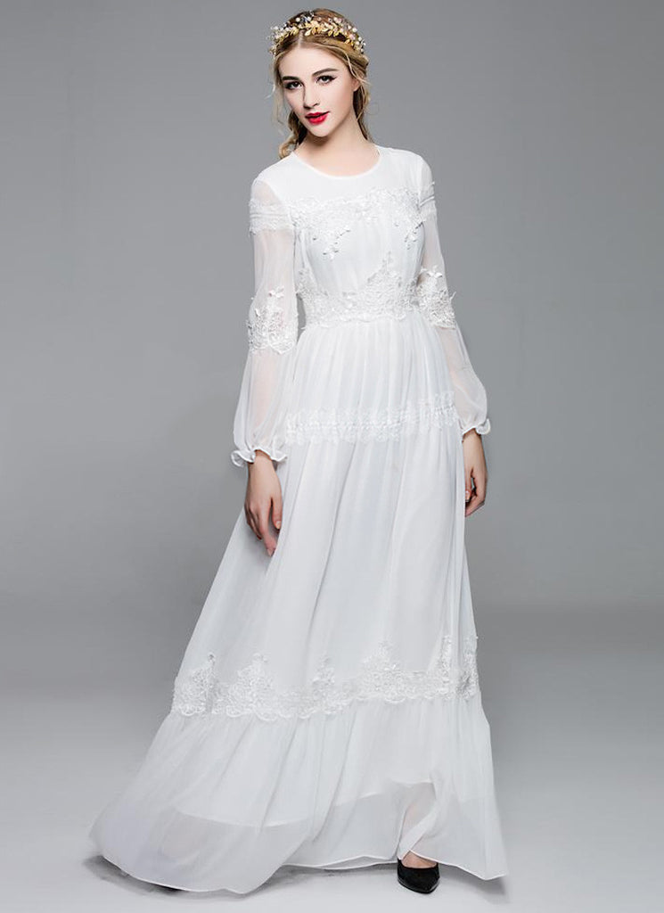 Long Sleeved White Chiffon Maxi Dress with Lace Details
