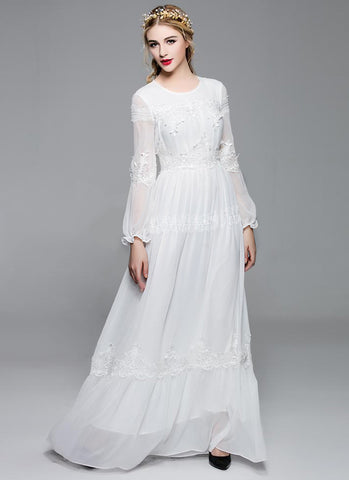 Long Sleeved White Chiffon Maxi Dress with Lace Details MX6