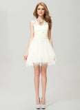 White Lace Tulle Asymmetric Mini Dress