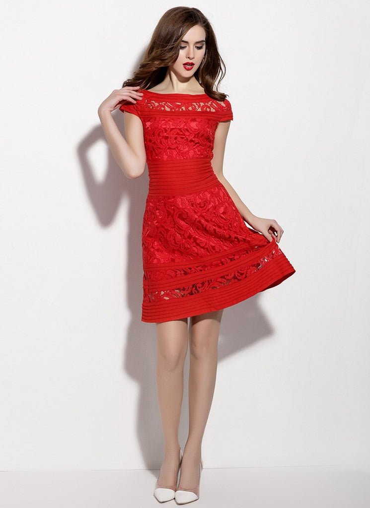 Red Lace Aline Mini Dress with Pleated Details