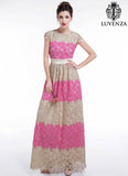 Pink and Beige Lace Maxi Length Floral Lace Evening Dress with Cap Sleeves and Scalloped Hem