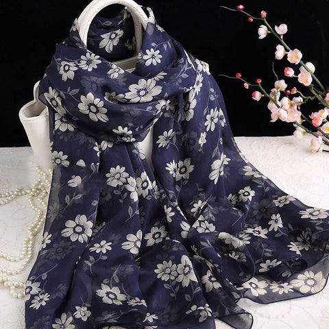 Dark Blue Silk Scarf with Floral Print - Large Blue Floral Silk Georgette Scarf Shaw - 2017-1