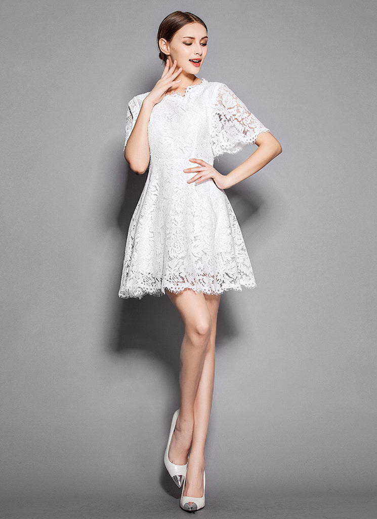 White Lace Mini Dress with Scalloped Hem and Modified Angel Sleeves