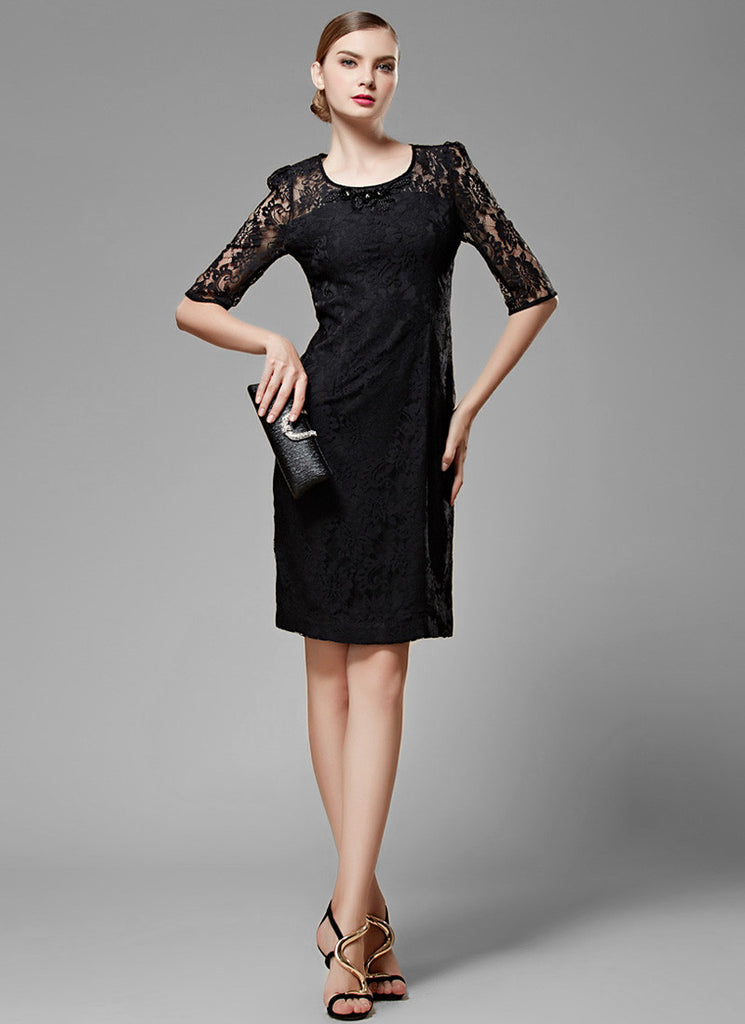 Black Lace Sheath Mini Dress with Puff Elbow Sleeves